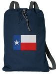 Texas Flag Cotton Drawstring Bag Backpacks RICH NAVY
