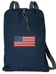 American Flag Cotton Drawstring Bag Backpacks RICH NAVY