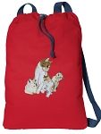 Cute Cats Cotton Drawstring Bag Backpacks COOL RED