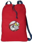 Baseball Cotton Drawstring Bag Backpacks COOL RED