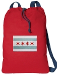Chicago Flag Cotton Drawstring Bag Backpacks COOL RED