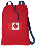 Canadian Flag Cotton Drawstring Bag Backpacks COOL RED