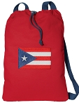 Puerto Rico Cotton Drawstring Bag Backpacks COOL RED