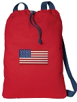 American Flag Cotton Drawstring Bag Backpacks COOL RED