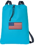 American Flag Cotton Drawstring Bag Backpacks COOL BLUE