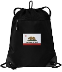 California Flag Drawstring Backpack-MESH & MICROFIBER