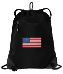 American Flag Drawstring Backpack-MESH & MICROFIBER