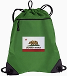 California Flag Drawstring Backpack Mesh and Microfiber