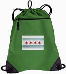 Chicago Flag Drawstring Backpack Mesh and Microfiber