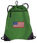 American Flag Drawstring Backpack Mesh and Microfiber