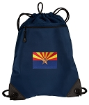 Arizona Drawstring Backpack-MESH & MICROFIBER Navy