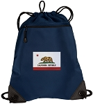 California Flag Drawstring Backpack-MESH & MICROFIBER Navy