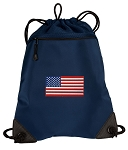 American Flag Drawstring Backpack-MESH & MICROFIBER Navy