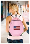 American Flag Drawstring Bag Mesh and Microfiber Pink