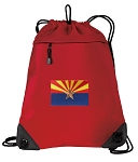 Arizona Drawstring Backpack MESH & MICROFIBER Red