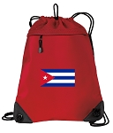 Cuba Drawstring Backpack-MESH & MICROFIBER Red