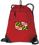 Maryland Drawstring Backpack MESH & MICROFIBER Red
