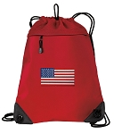 American Flag Drawstring Backpack MESH & MICROFIBER Red