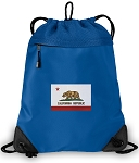 California Flag Drawstring Backpack MESH & MICROFIBER Blue