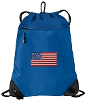 American Flag Drawstring Backpack MESH & MICROFIBER Blue