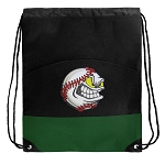 Baseball Drawstring Backpack Bags Green
