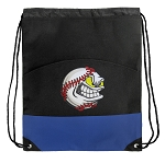 Baseball Drawstring Backpack Bag Blue
