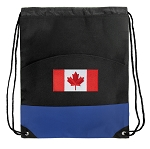 Canada Drawstring Backpack Bag Blue