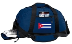 Cuba Gym Bag - Cuban Flag Duffel BAG with Shoe Pocket Blue