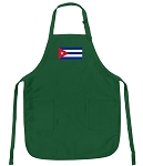 Deluxe Cuban Flag Apron Green