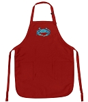 Deluxe Blue Crabs Apron Red