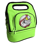 Baseball Lunch Bag 2 Section Lime