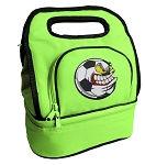 Soccer Fan Lunch Bag 2 Section Lime