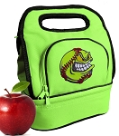 Softball Lunch Bag 2 Section Lime