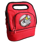 Baseball Lunch Bag 2 Section Red