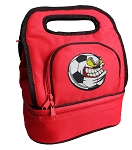 Soccer Fan Lunch Bag 2 Section Red