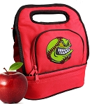 Softball Lunch Bag 2 Section Red