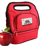 California Flag Lunch Bag 2 Section Red