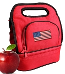 American Flag Lunch Bag Red