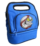 Baseball Lunch Bag 2 Section Blue