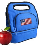 American Flag Lunch Bag 2 Section Blue