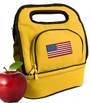 American Flag Lunch Bag 2 Section Gold