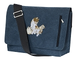 Cute Cats Messenger Bags STYLISH WASHED COTTON CANVAS Blue