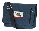 California Flag Messenger Bags STYLISH WASHED COTTON CANVAS Blue