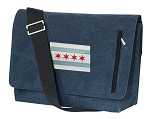 Chicago Flag Messenger Bags STYLISH WASHED COTTON CANVAS Blue