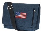 American Flag Messenger Bags STYLISH WASHED COTTON CANVAS Blue