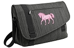 Cute Horse Messenger Laptop Bag Stylish Charcoal