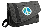 Peace Sign Messenger Laptop Bag Stylish Charcoal