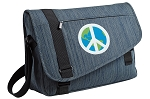 Peace Sign Messenger Laptop Bag Stylish Navy