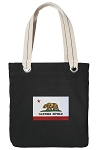 California Flag Tote Bag RICH COTTON CANVAS Black