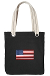 American Flag Tote Bag RICH COTTON CANVAS Black